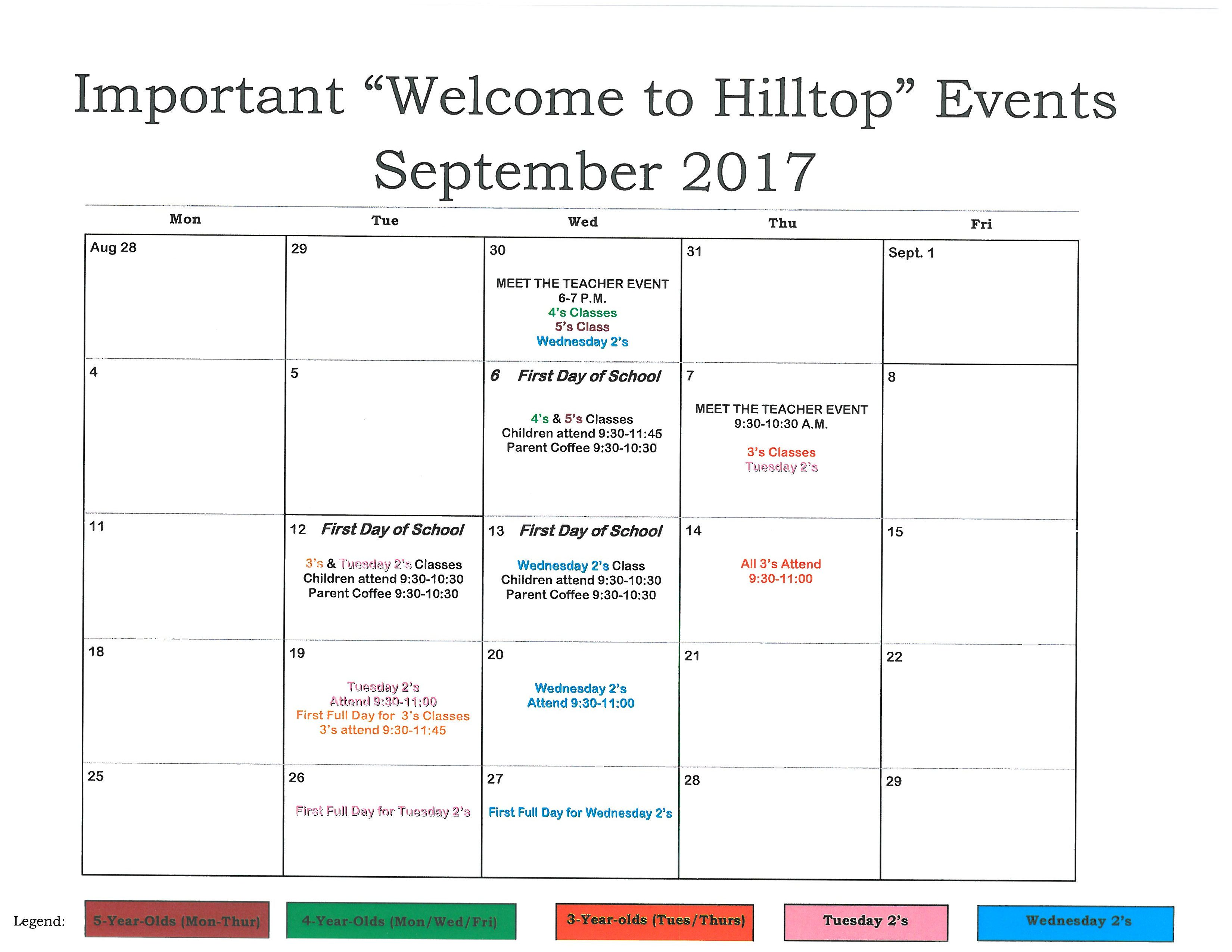 Welcome to Hilltop Important Events